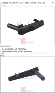 KSC/KWA USP 45 & TACTICAL Steel Slide Release