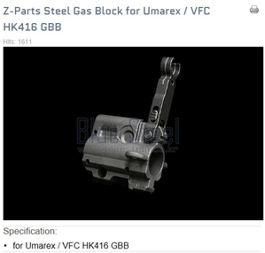 [VFC] Z-parts HK416C Steel Gas Block set